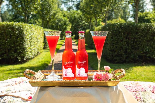 Två flaskor och två glas står på en bricka i trädgår. Innehållet är klarröd kombucha.