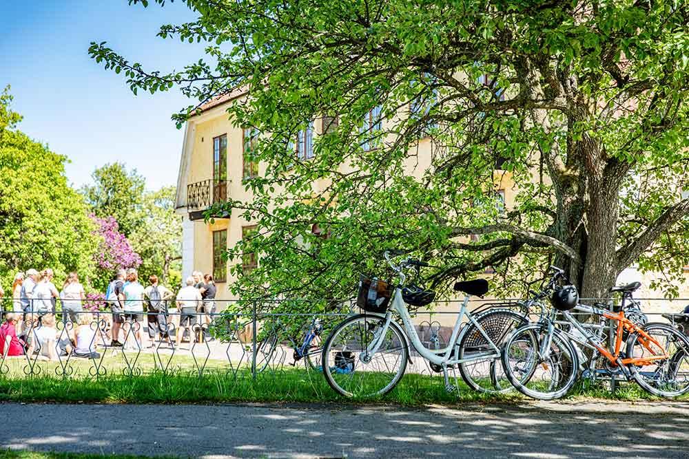 Cyklar som står vid ett träd i bakgrunden en grupp människor vid ett gult hus.